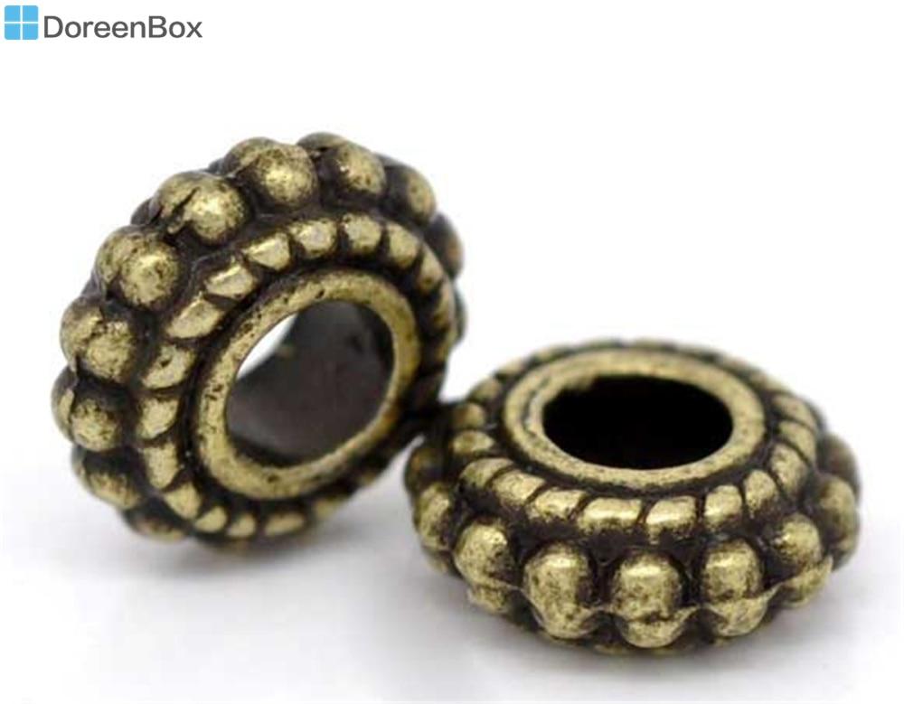 Doreen Linda Caixa de Roda 100 Tone Bronze Spacer Beads Achados 8x3mm (B09226)