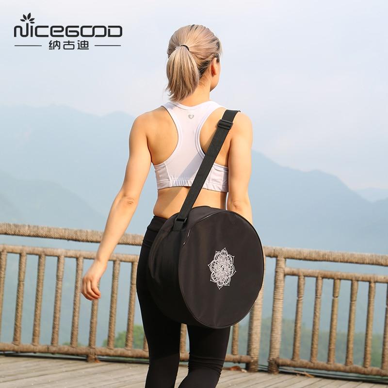 Yoga Wheel Bag Nylon Black Mandala Flower 36*14cm Yoga Circle Bag Large Capacity Double Zipper Pilates Wheel Backpack Yoga Bag