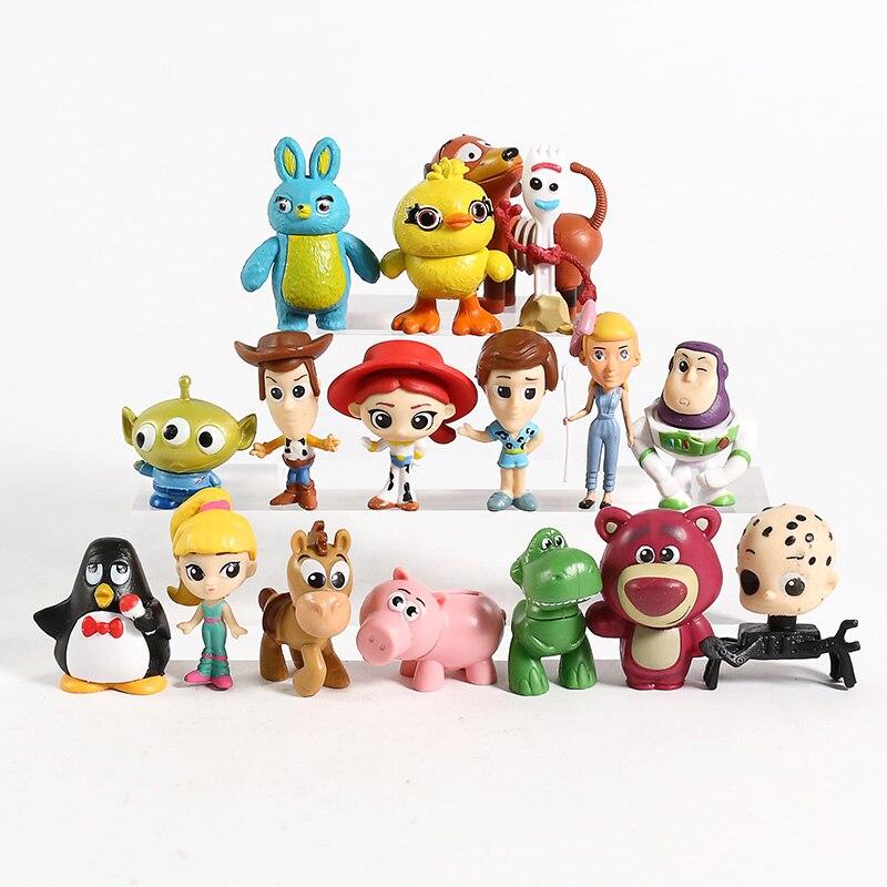 4 Woody Buzz Lightyear Jessie Bullseye Slinkydog Forky Ducky Bunny Rex Lotso Hamm Alien Mini PVC Figures Toys Set