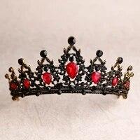 crystal heart bridal tiaras crown baroque black red green rhinestone diadem pageant veil tiara headband wedding hair accessories