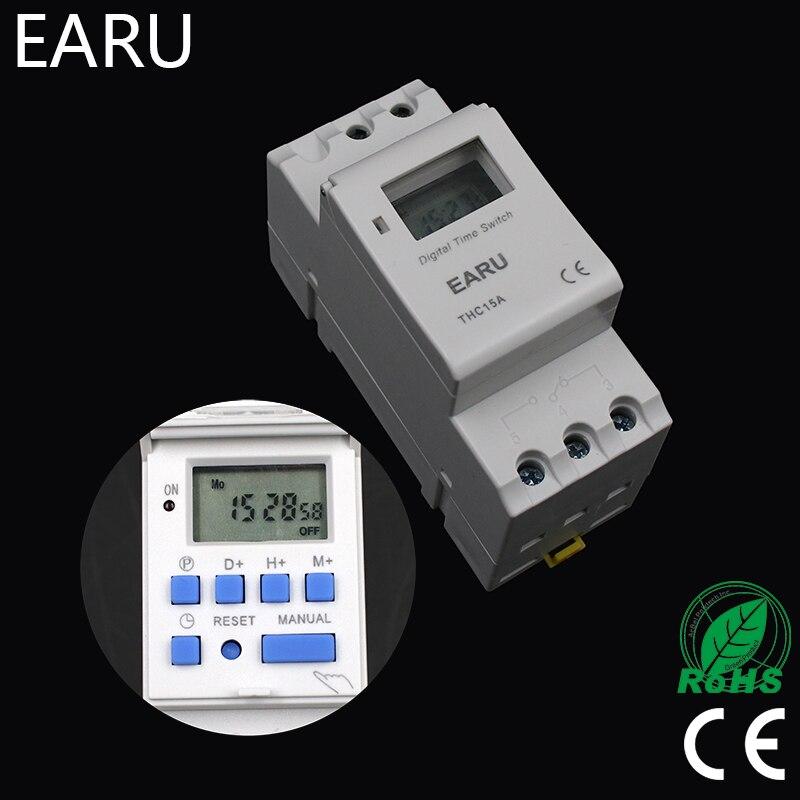 Электронный Еженедельный программируемый цифровой переключатель таймера 12 В 24 В 220 В 6A 10A 16A 20A 25A 30A din-рейка tp8a16