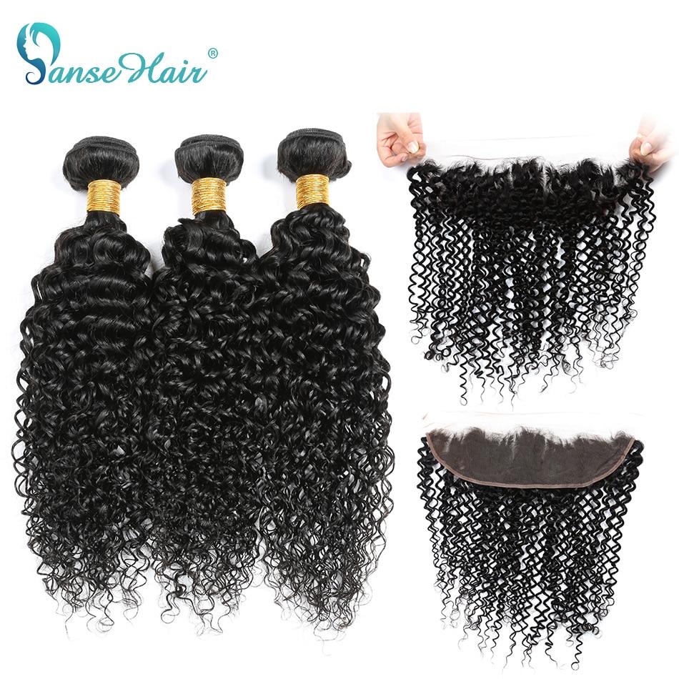 Panse Hair Brazilian Hair 3 Bundles With A 13*4 Lace Frontal kinky Curly Hair 4 pics per lot Color 1B Non Remy Hair Bundles