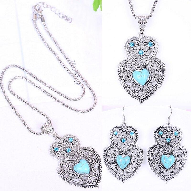 1 unidad de diamantes de imitación encantadores corazones mujeres pendiente doble juegos de joyería collar Accesorios