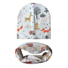 Bonnet de bébé en coton à motif de dessin animé   Chapeau pour bébé, ensemble écharpe, chapeaux imprimés pour enfants, casquettes pour garçons et filles