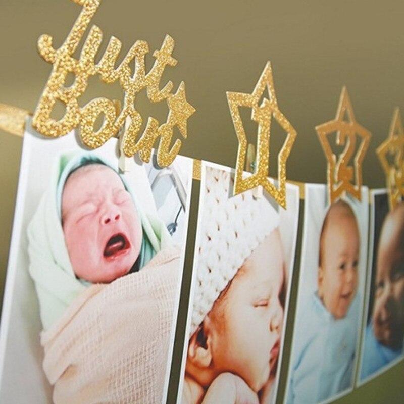 1er marco de fotos de cumpleaños 1-12 meses marco de fotos de bebé ducha bebé foto titular niños cumpleaños Banner Sala de bodas decoraciones