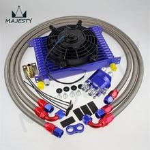 "Enfriador de aceite de transmisión de motor Universal de 15 filas 10AN + kit de adaptador de reubicación + Kit de ventilador eléctrico de 7 ""SL"