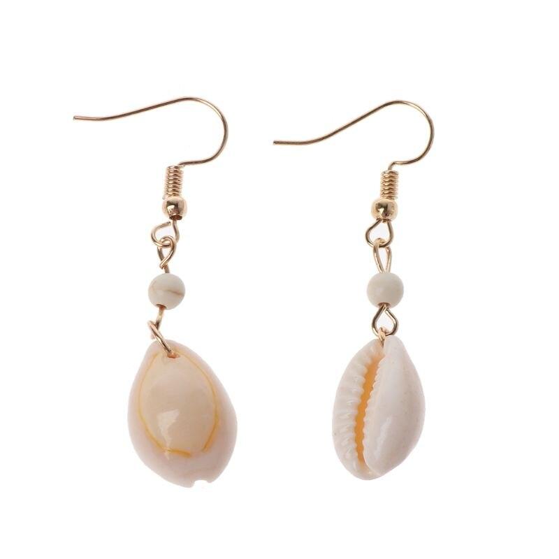 Pendientes de gota para mujeres Natural Simple Cowrie Shell Hook cuelga los pendientes a la moda