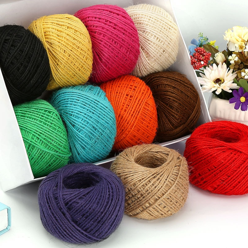 10m 5m mesh hollow natural jute twine rope string cord diy craft burlap scrapbook Sale 30M 2mm Natural Burlap Hessian Jute Twine Cord Hemp Rope String Color Gift Packing Strings Christmas Party Supplies Decor