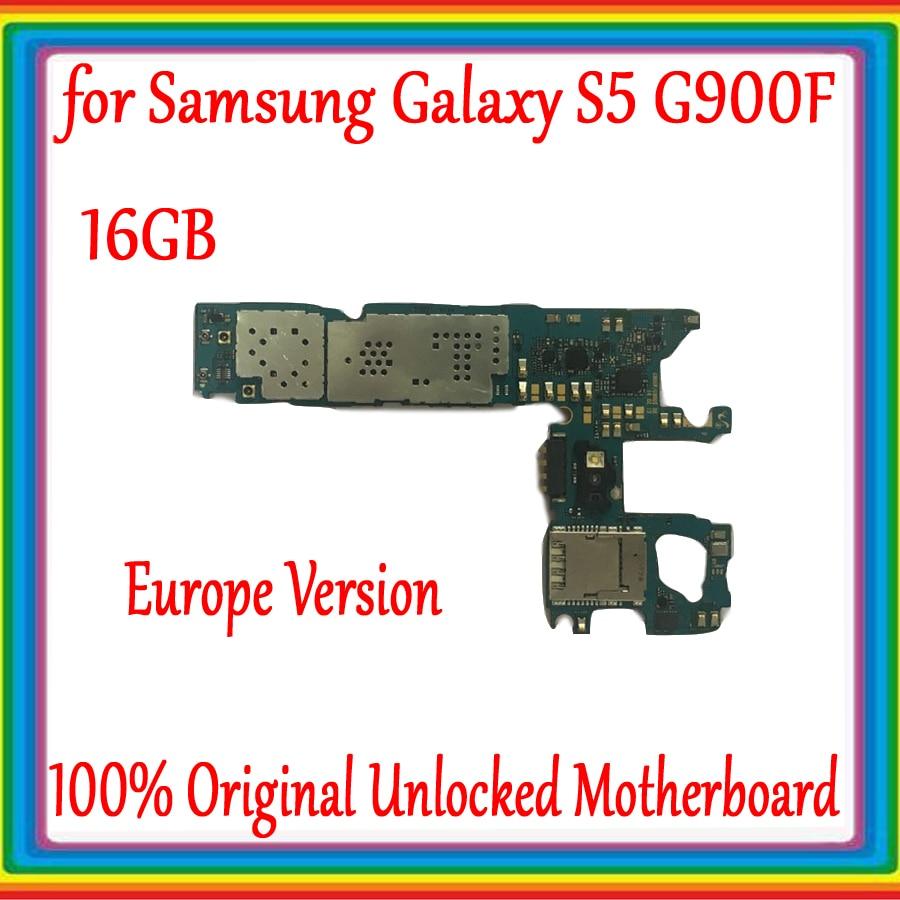 Placa base desbloqueada Original para Samsung Galaxy S5 G900F Mainboard con sistema Android placa lógica 16GB con Chips