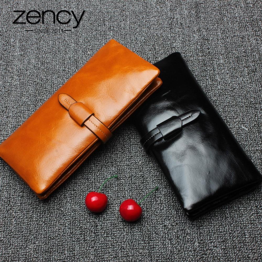 Zency 100% Genuine Leather Elegant Women Long Purse Large Capacity Ladies Wallet Simple Practical Coin Purse Card Holders