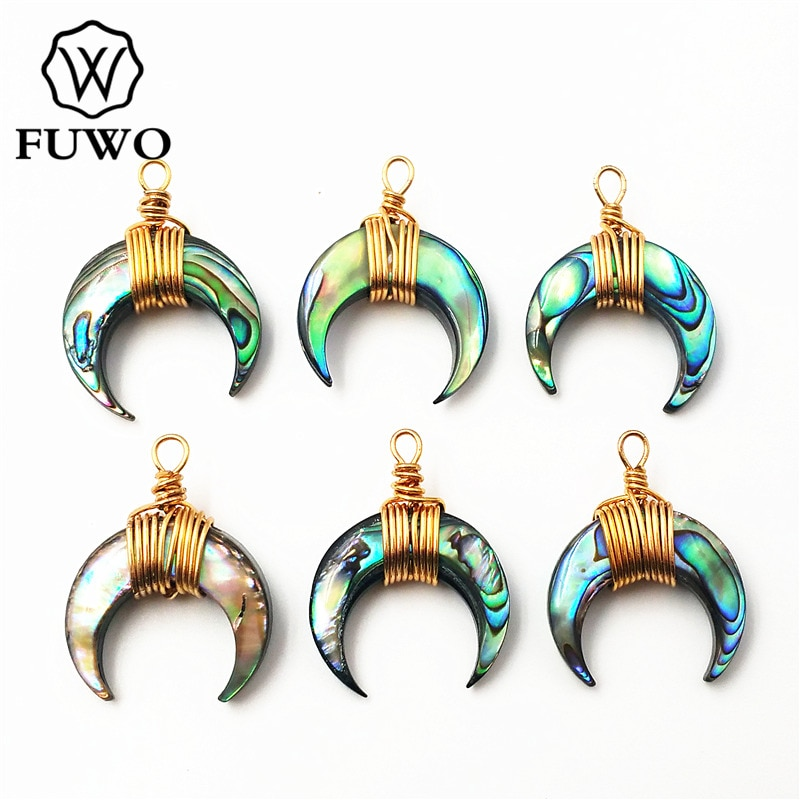 FUWO Natural Abalone Shell Duplo Chifre Pingente 24 K Ouro Electroplate Fio de Cobre Enrolado PD509 Lua Crescente de Jóias Por Atacado