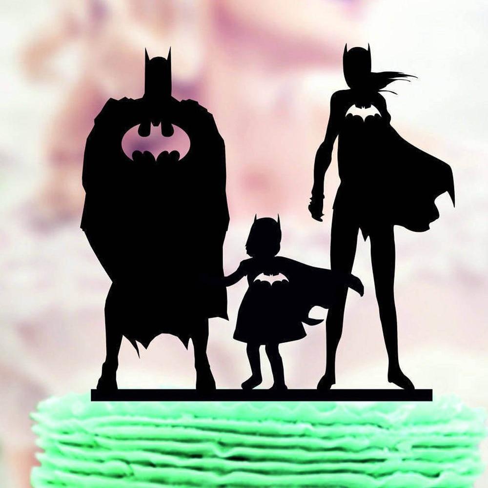 Super herói família casamento bolo topper, batman & batgirl com criança silhueta bolo topper, mr & mrs e suprimentos de decoração de casamento do miúdo