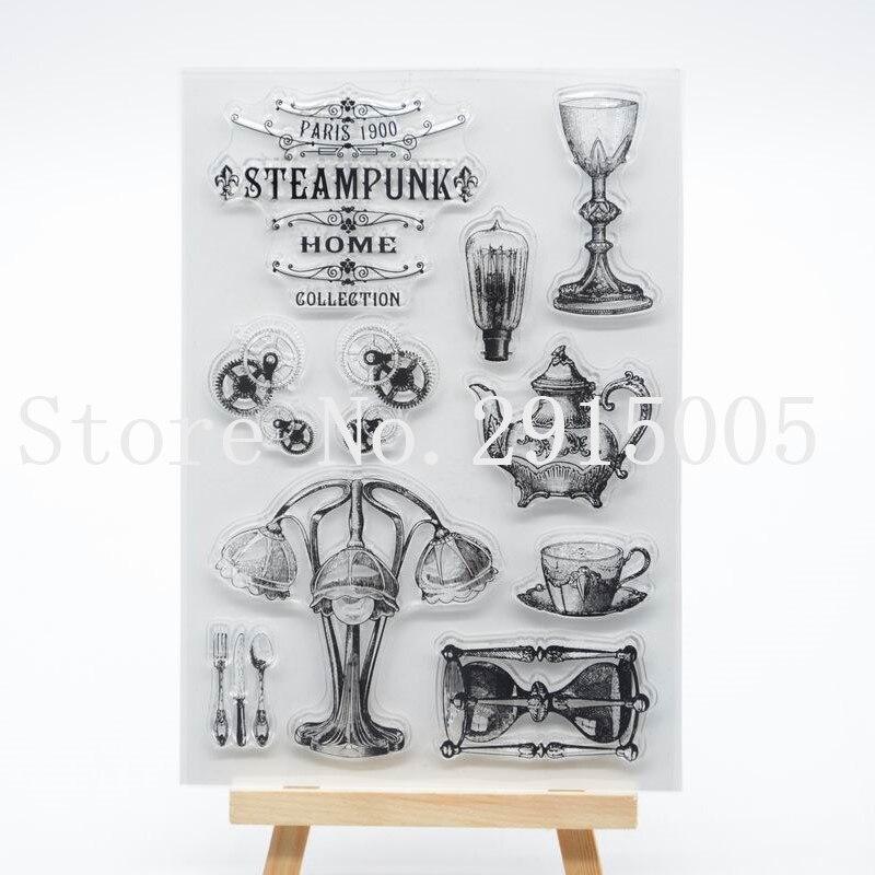 Steampunk Scrapbook tarjetas de fotos de manualidades cuenta sello de goma sello transparente 11x16cm CS2138