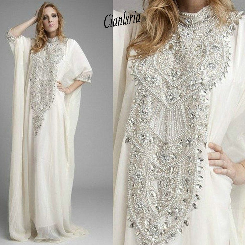 Dubai Kaftan Pakistan Abaya High Neck Prom Dresses with Long Sleeves Luxury Crystals Rhinestones Evening Gowns