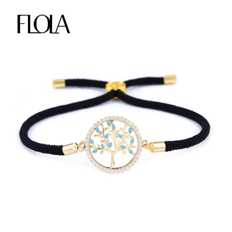 FLOLA Handmade Black String Tree of Life Bracelet Zircon Paved Adjustable Rope Couple Bracelet Lucky Jewelry Braided gift brta67