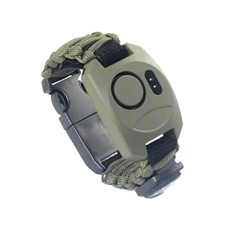 Pulsera multifuncional para exteriores, pulsera de emergencia SOS para supervivencia, aventura, exteriores, alarma de decibelio alto brazalete de tamaño ajustable