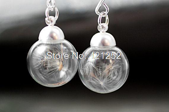 5 pares reais dandelion sementes brincos dandelion seed earr ings em prata fosco ganchos coloridos. Jóias da natureza para ela.