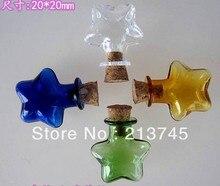 Necklace pendant pentagram mobile phone accessories DIY supplies vial pendant /miniature pendant/glass bottle wish tube