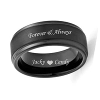 free engraved forever always customize logo 8mm black step edges pure titanium rings for women men wedding band size 9 10 11