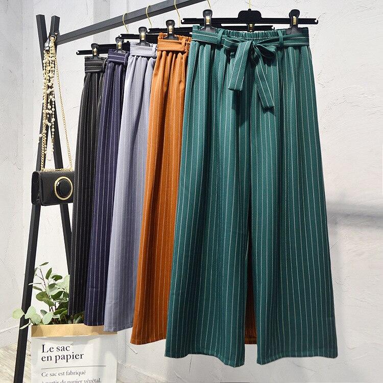 Women's Casual Pants Elastic High Waist pants Wide leg pants pantalones mujer algodon Striped loose Trousers pantalones mujer