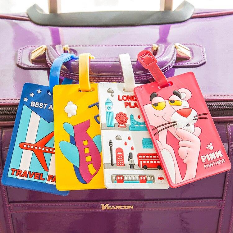Etiqueta de identificación para equipaje en sílice de dibujos animados, soporte de identificación para maleta, accesorio de viaje de Kawaii, Stitch, Doraemon