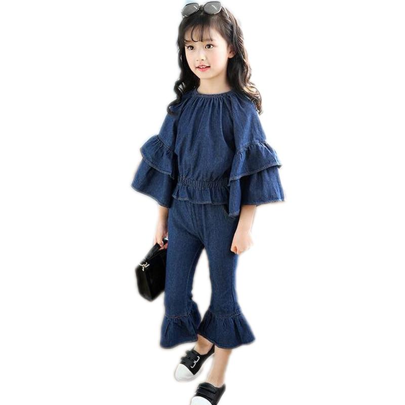 Spring Princess Teenage Girls' Clothing Sets Kids Girls Clothes Denim Flare Sleeve T shirt +Pants 2pcs Jeans Girls Clothing Sets
