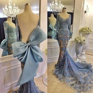 Dusty Blue Evening Dresses Backless Deep V Appliqued Robe De Bal Long Tulle Sleeves Evening Party Dresses Mermaid 2019