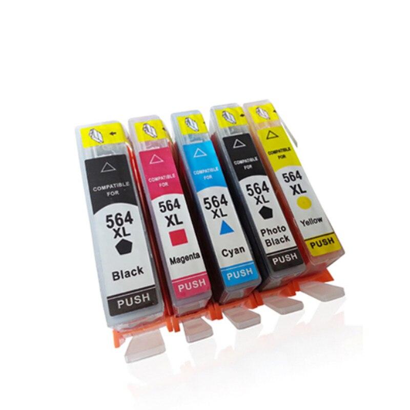 5 piezas de tinta compatible cartucho de repuesto para HP 564 para Photosmart 5510, 5520, 6510, 6520, 7510 Deskjet serie 3070A 3520, 3522