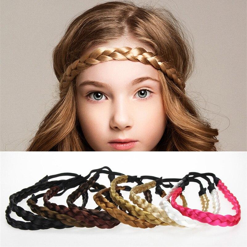Meninas mulheres torção trançado peruca headbands cor sólida elástico hairband boutique artesanal acessórios para o cabelo de borracha crianças cabeça banda