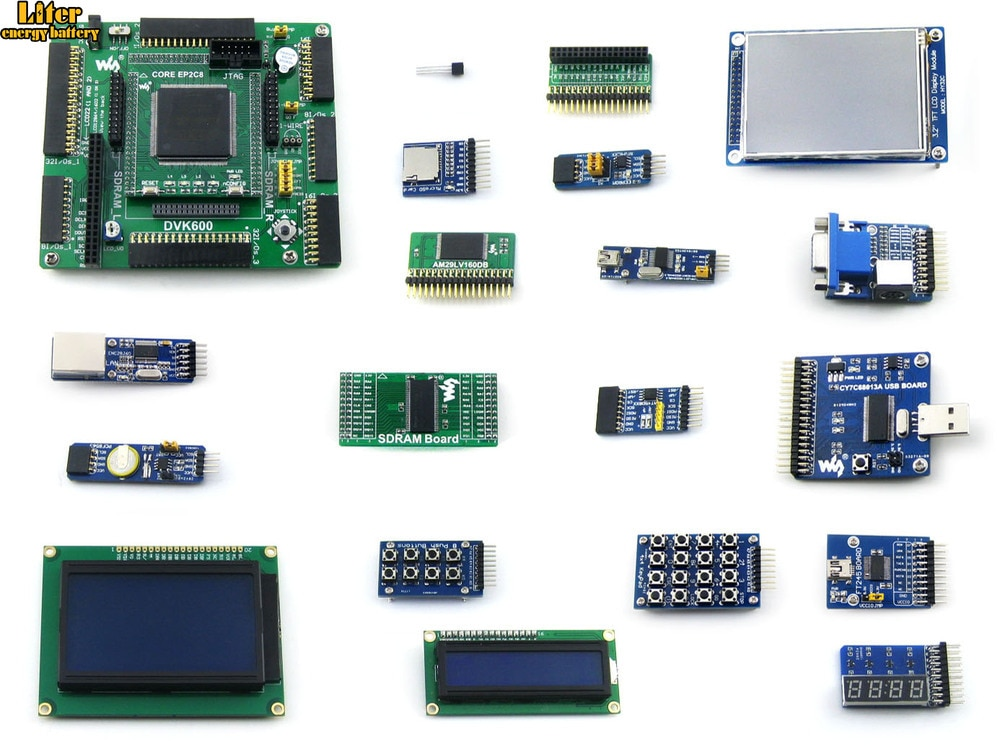 Altera Cyclone Board EP2C8Q208C8N ALTERA Cyclone II FPGA Development Board+3.2inch LCD+18 Modules Kits=OpenEP2C8-C Package B