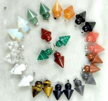 Pierre naturelle Quartz cristal oeil de tigre Turquoises pendule breloques chakra pendentifs pour bijoux à bricoler soi-même colliers accessoires 2 pièces