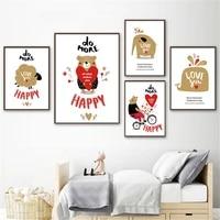 Affiche de decoration de maison  dessin anime  Animal mignon  peinture sur toile nordique  images de chambre denfant  Art mural  citation