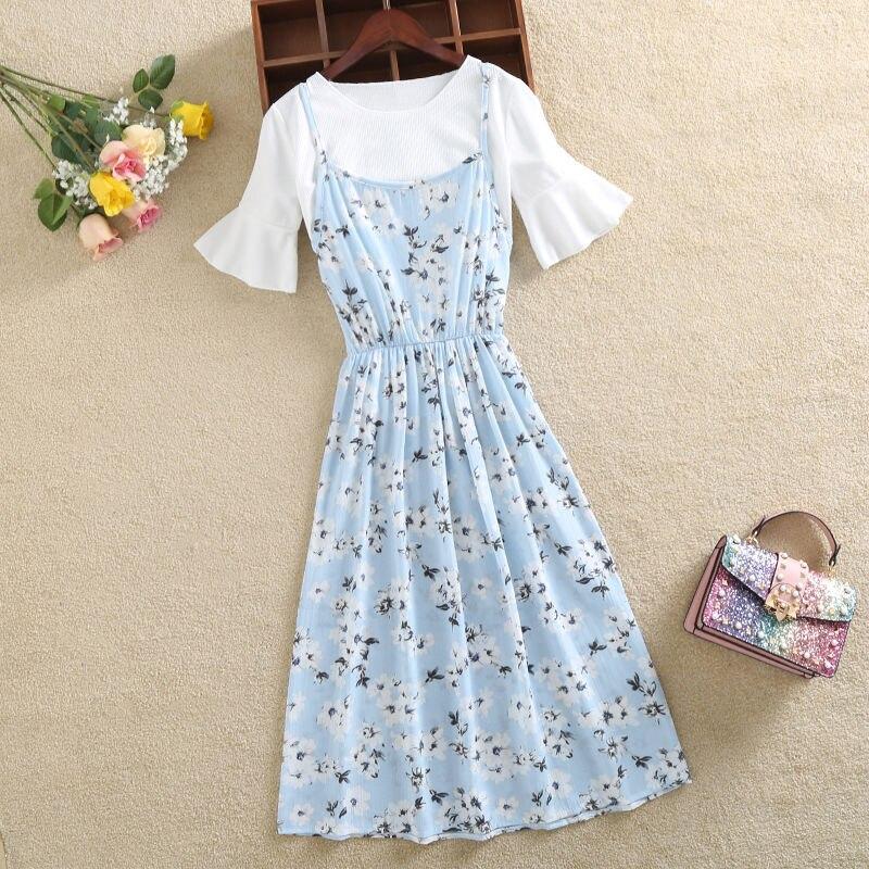 Sling two-piece dress female 2019 summer women's dress suit casual floral chiffon print long slim beach dress set