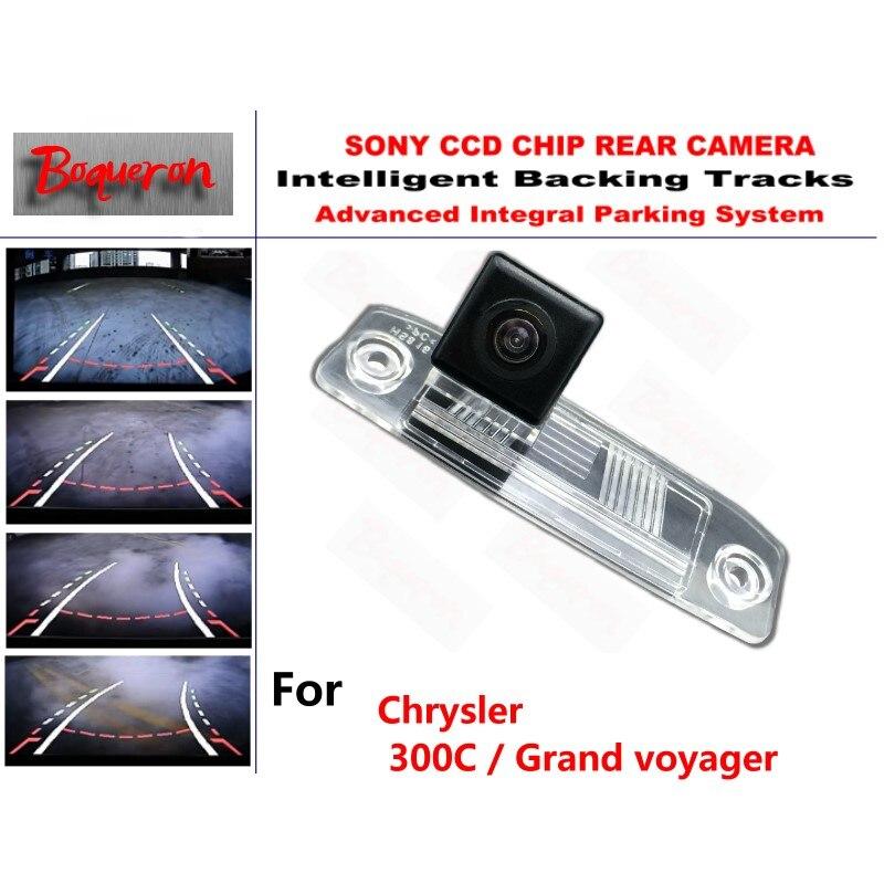 Para Chrysler 300C/Grand voyager cámara CCD de aparcamiento de respaldo de coche pistas inteligentes orientación dinámica cámara de visión trasera