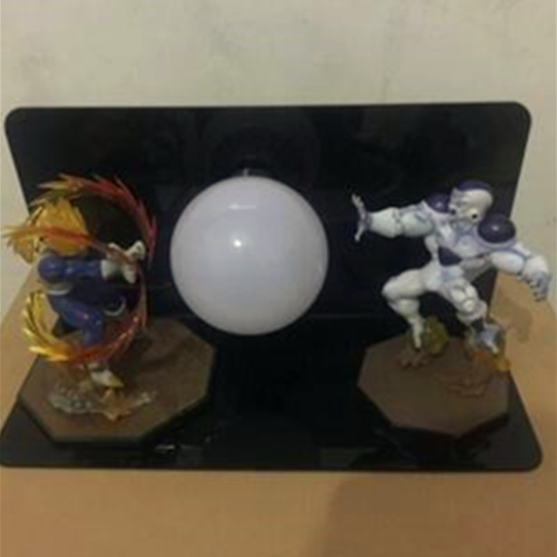 "5 ""Dragon Ball Z Super saiyan Vegeta y Frieza con luz LED lámpara de mesa PVC figura de acción juguete de modelos coleccionables D424"