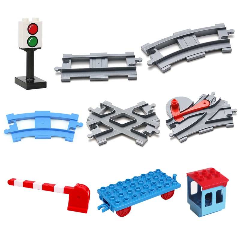 Vehicle track Sets Bricks Railway Big rail Building Blocks trailer track accessory DIY Child Toys Co