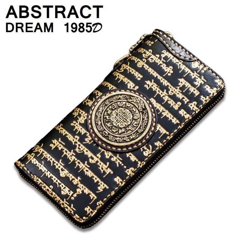 100% real leather women Wallet Gilding Tibetan scriptures women's nine palace eight diagrams purse Buddhist scriptures Wallet