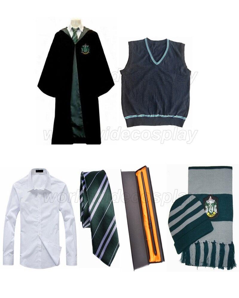 Darmowa wysyłka Harry Slytherin Cosplay szata kamizelka koszula Draco Malfoy różdżka kapelusz szalik na boże narodzenie