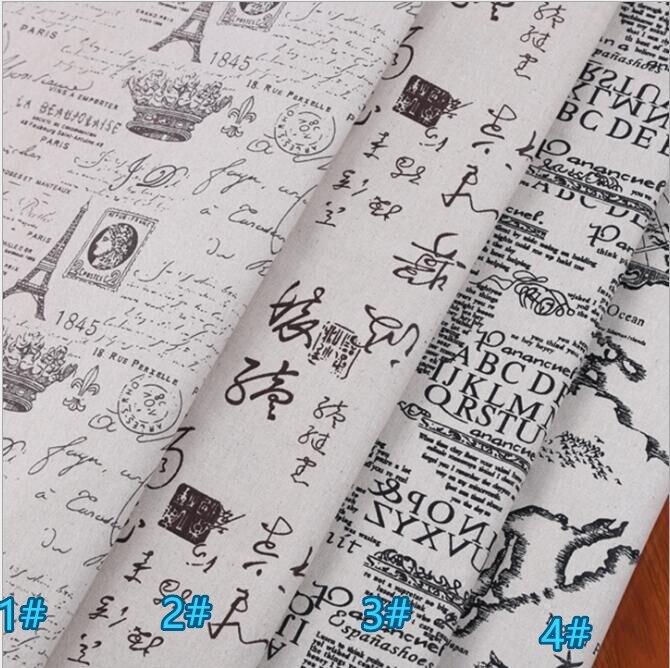 50*150cm tecido de linho de algodão impresso para estofamento, costura diy, sofá, cortina, saco, almofada, material de cobertura de móveis, torre eiffel