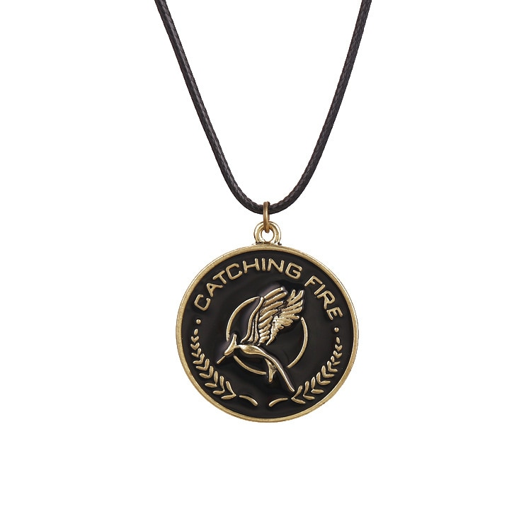 Hunger Games Necklace Bird Eagle Animal Logo Pendant Enamel Vintage Fashion Movie Jewelry Leather Rope Men Women Kids Wholesale