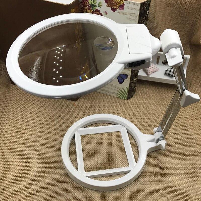 2x 6x desktop lupa original bordado suporte de leitura lupa óculos com iluminação 2 leds
