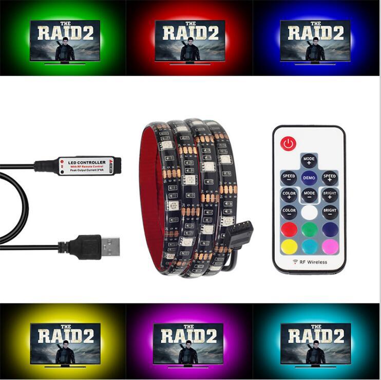1 m 2 m 3 m 4 m 5 m 30 LEDs/m DC5V RGB USB CONDUZIU a luz de tira USB carregador cabo de fita fita corda iluminação IR/RF RGB remoto controle