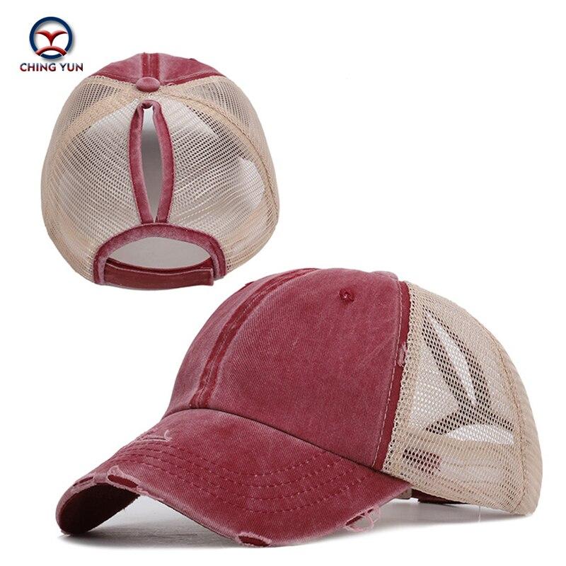 Ching yun marca boné de beisebol feminino casquette alta qualidade ms rabo de cavalo penteado chapéu unisex lazer rua fazer efeitos antigos chapéu sol