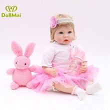 "22""55cm silicone reborn baby dolls adorable doll princess girl for child gift toys menina bebes reborn de silicone real"