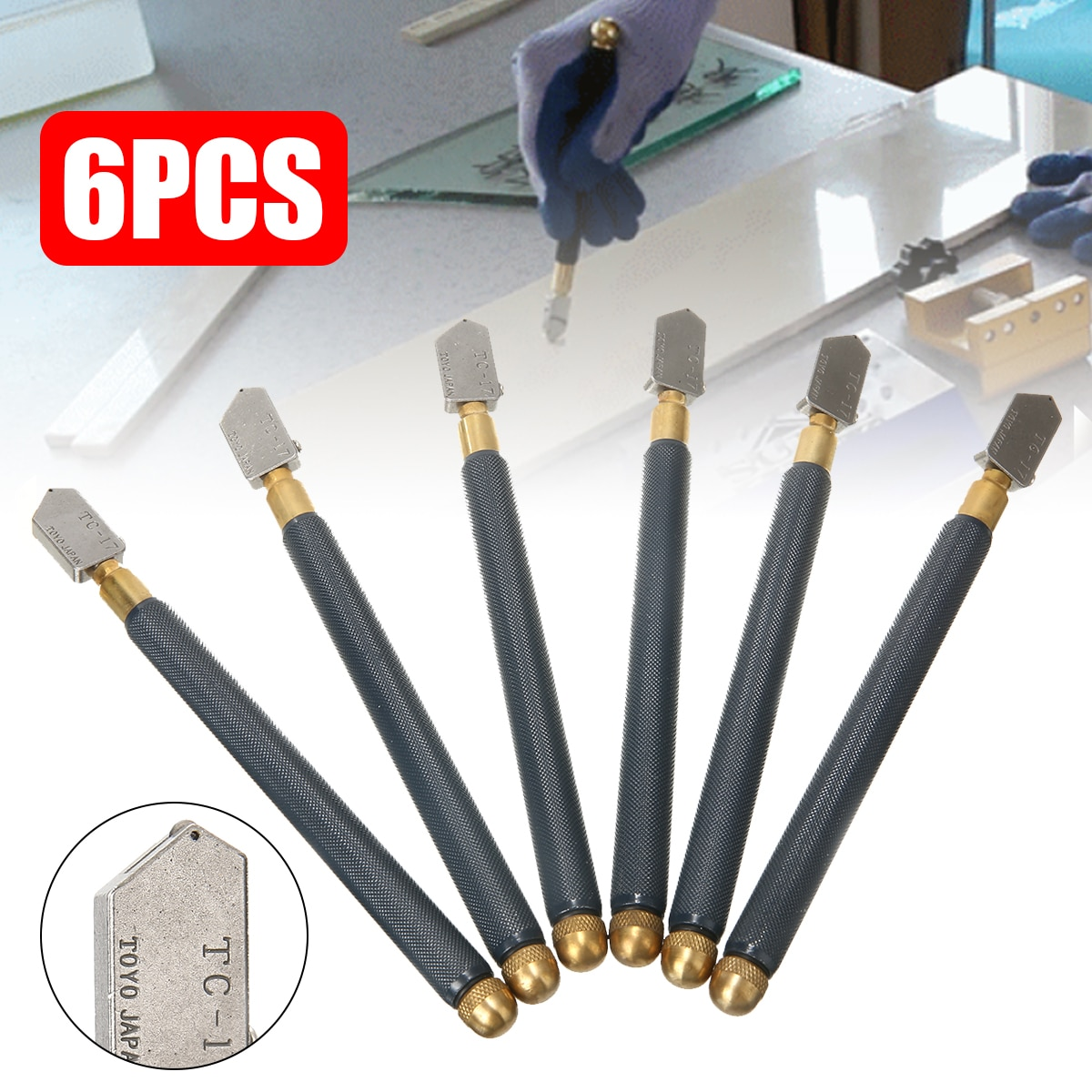 4 sizes new high strength and hardness glass straight cutting tile cutter head glass cutter replacement tc 17 tc 30 tc 10 tc 90 6pcs/lot Glass Cutting Antislip Carbide Metal Tools  TC-17 Oil Glass Cutter Metal Handle Diamond Straight Head Cutting Tool