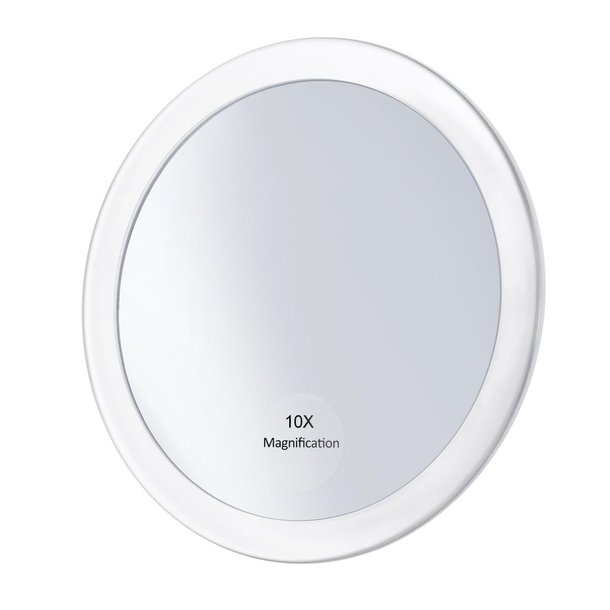Espejo redondo de aumento de 10x espejo de bolsillo plegable espejo de aumento compacto con 3 ventosas de 5,9 pulgadas