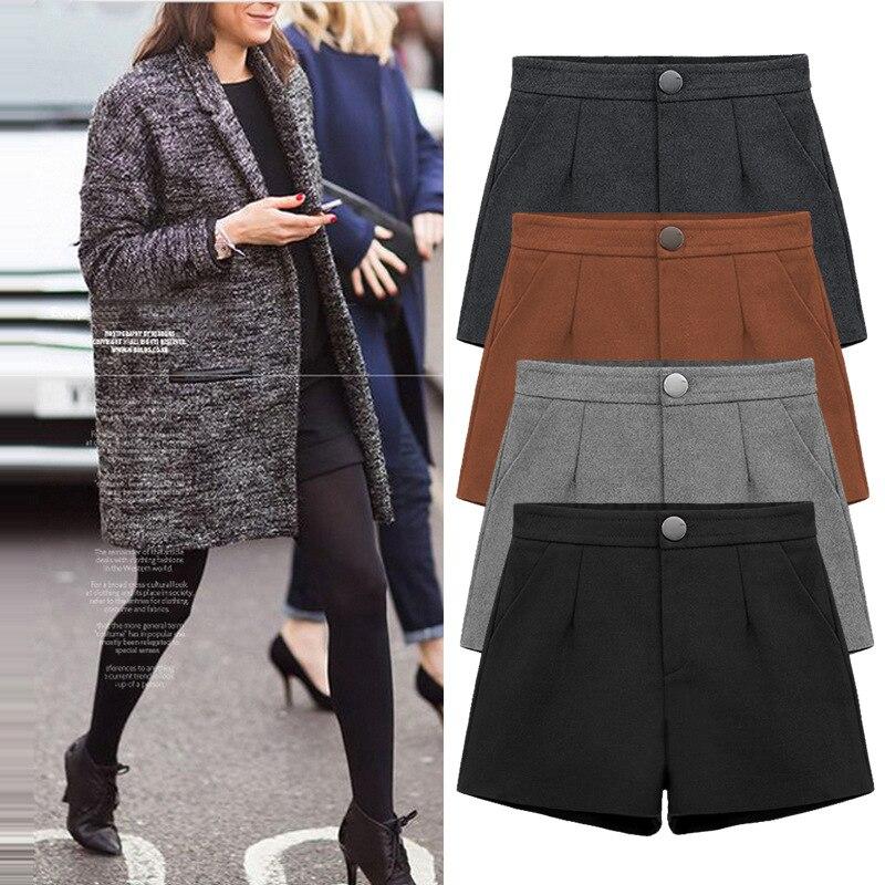 2019 Outono Inverno Formais Plus Size 6XL Calções Mulheres Coreano Cintura Alta Shorts De Perna Larga Feminino Cinza Preto Ocasional Fundo