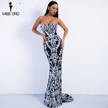 Missord 2020 Sexy épaules nues rétro géométrie Sequin robe femme Maxi fête élégante robe réfléchissante Vestdios FT8888-2
