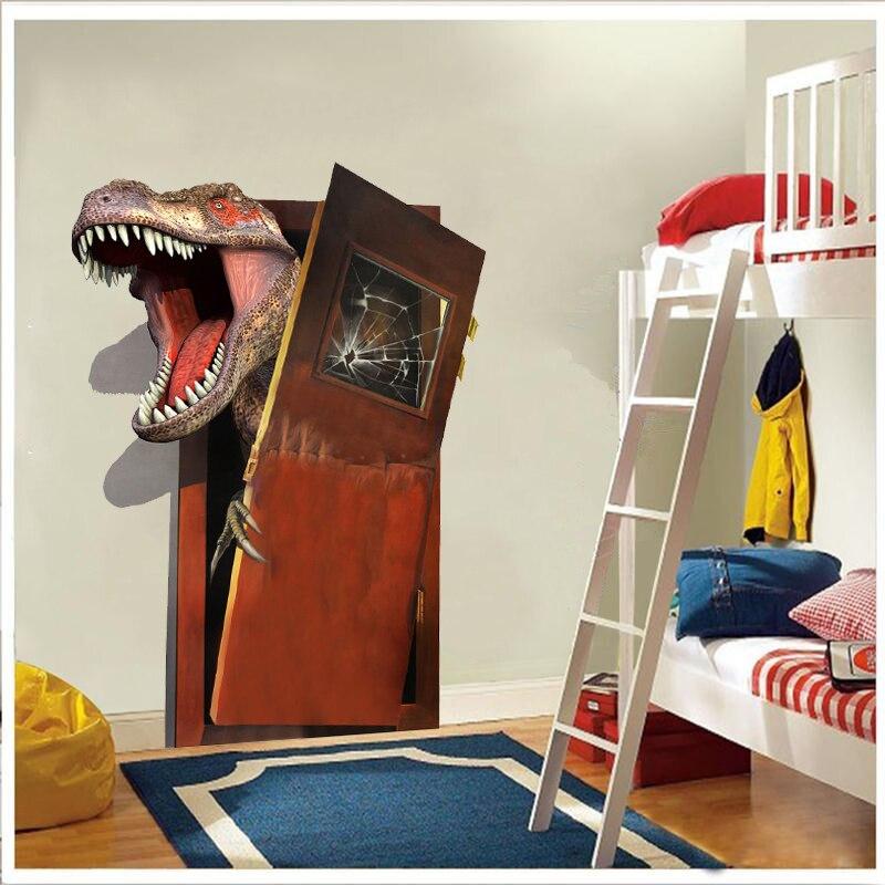Nuevas pegatinas de pared de pvc de dinosaurio 3d de dibujos animados para sala de estar, hogar, de la pared Decoración Arte, diy, calcomanías removibles, regalo para niños