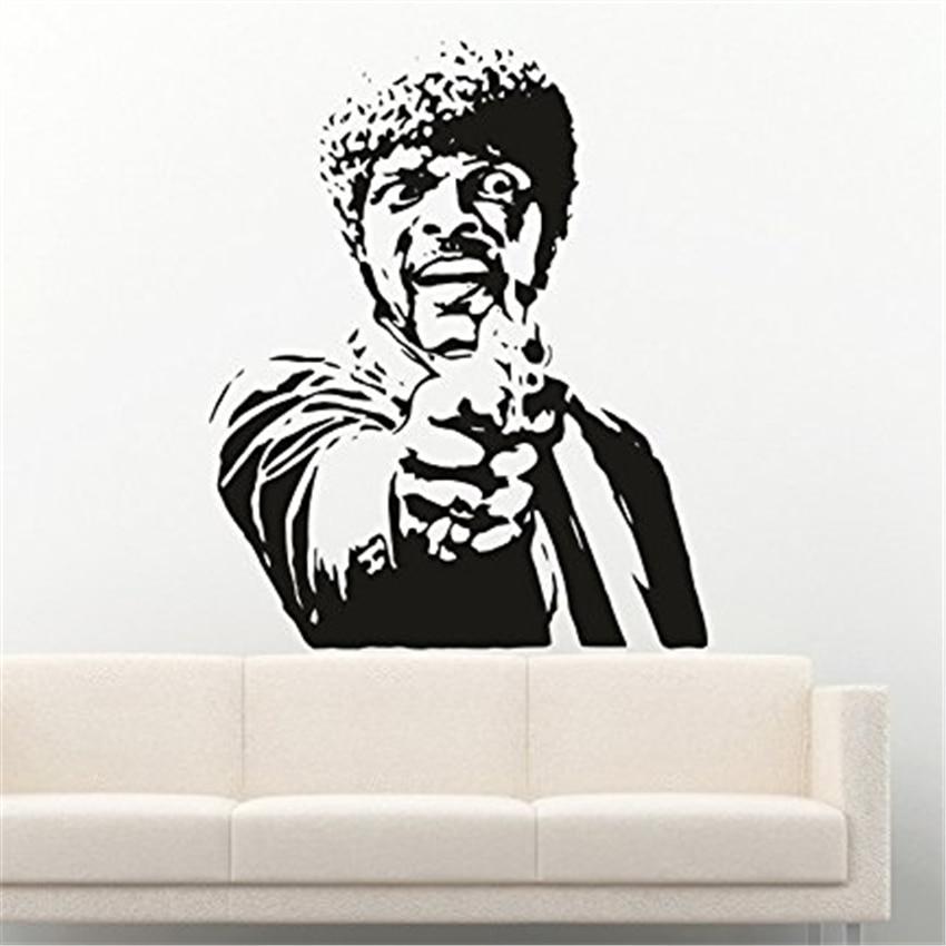 Famous Person Vinyl Wall Decals Movie Pulp Fiction Samuel Jackson Gun Weapon Shooting Stickers Art Decor D878
